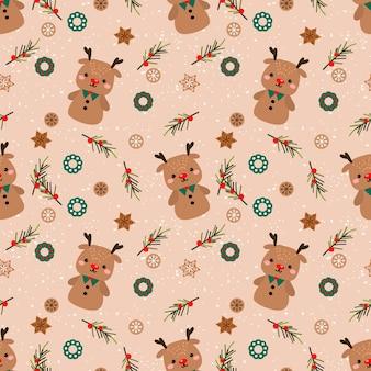 Lindo pan de jengibre de renos en patrones sin fisuras del tema de navidad