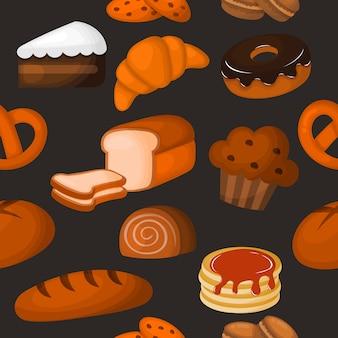 Lindo panadería de patrones sin fisuras. postres para cafetería o pastelería. ilustración vectorial