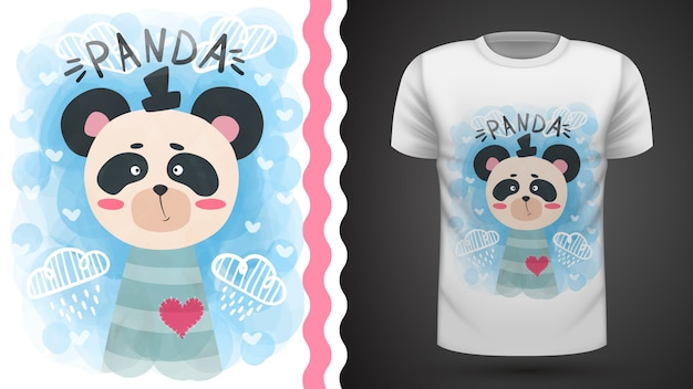 Lindo panda acuarela - idea para imprimir camiseta