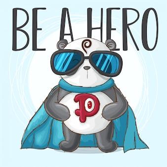 Lindo panda animal pequeño héroe-vector