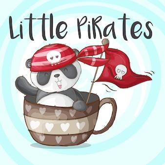 Lindo panda animal pequeños piratas-vector