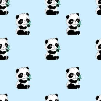 Lindo panda y bambú de patrones sin fisuras.