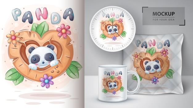Lindo panda en cartel de corazón de madera y merchandising