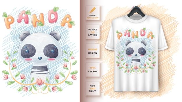 Lindo panda en cartel de hoja y merchandising