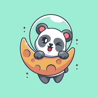 Lindo panda colgando de la luna de dibujos animados