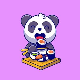 Lindo panda comiendo sushi de salmón con ilustración de icono de dibujos animados de palillos.