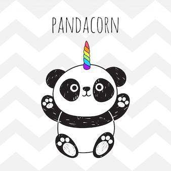 Lindo panda con un cuerno de unicornio