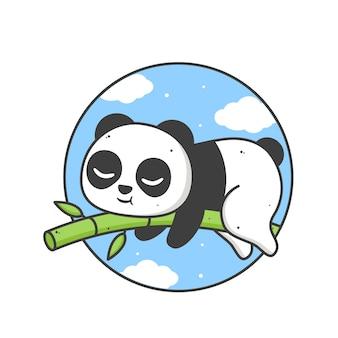 Lindo panda durmiendo en un bambú