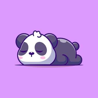 Lindo panda durmiendo dibujos animados aislado en púrpura