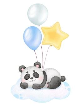 Lindo panda durmiente y globos con estampado de acuarela