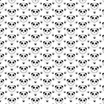 Lindo panda feliz de patrones sin fisuras
