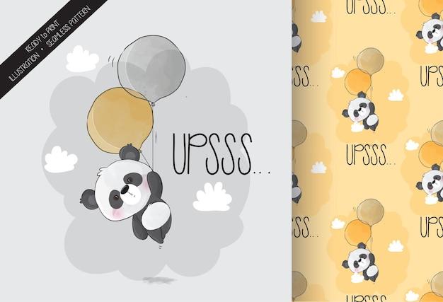 Lindo panda feliz volando con globos de patrones sin fisuras