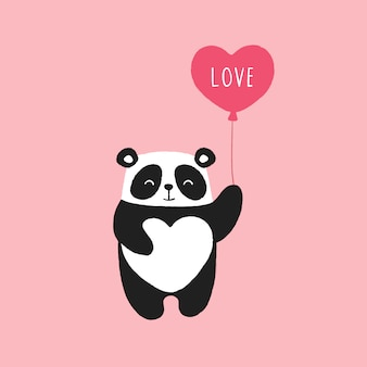 Lindo panda, globo de corazón, día de san valentín.