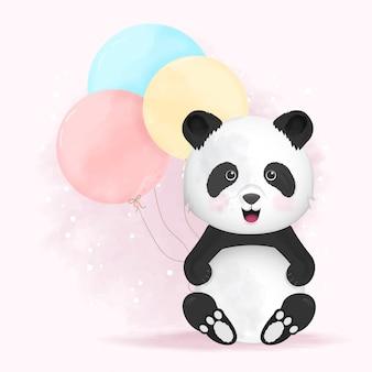 Lindo panda con globo dibujado a mano ilustración