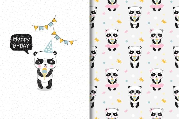 Lindo panda con helado. tarjeta de cumpleaños y patrones sin fisuras.