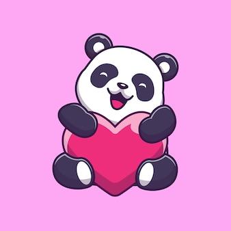 Lindo panda holding love icon illustration. personaje de dibujos animados de la mascota de panda. concepto de icono animal aislado