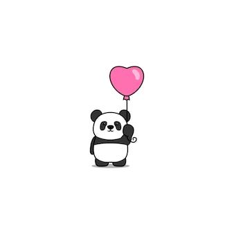 Lindo panda con icono de dibujos animados de globo de corazón