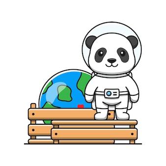 Lindo panda con miniatura del planeta tierra