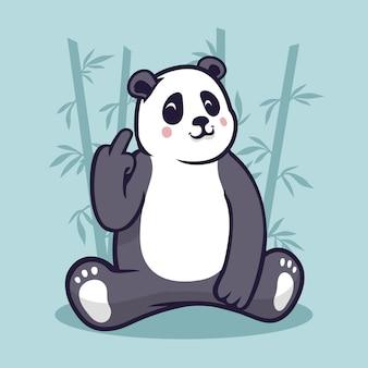 Lindo panda mostrando el símbolo vete a la mierda