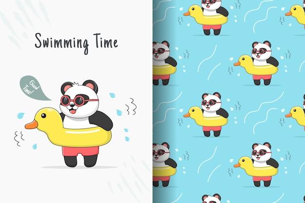 Lindo panda nadando con tarjeta y patrón sin costuras de pato de goma amarillo