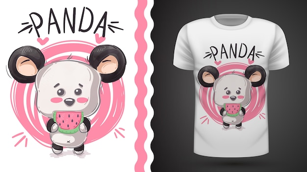 Lindo panda, oso, idea para camiseta estampada.