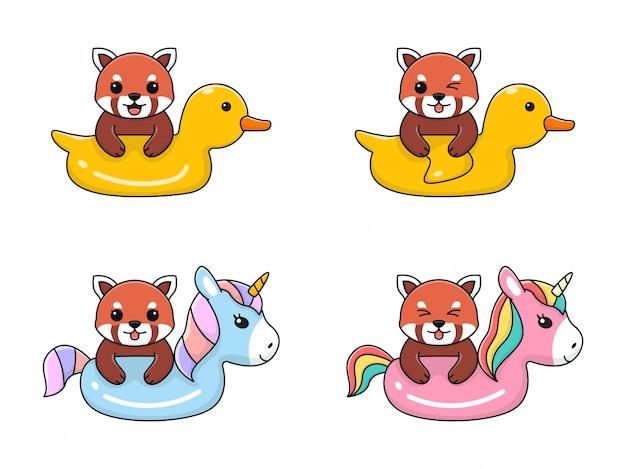Lindo panda rojo con anillo de natación, pato y unicornio