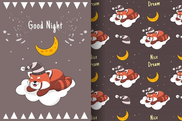 Lindo panda rojo durmiendo en la nube de patrones sin fisuras y tarjeta