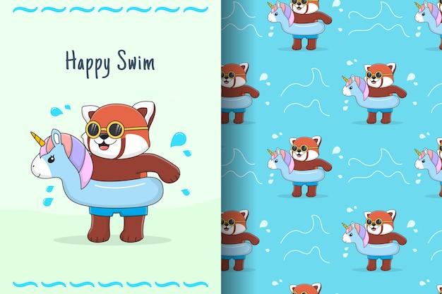 Lindo panda rojo nadando con unicornio de goma azul de patrones sin fisuras y tarjeta