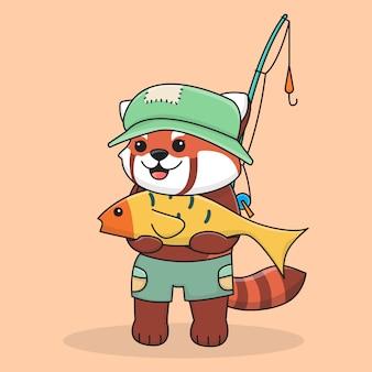 Lindo panda rojo pesca con caña de pescar y con un sombrero