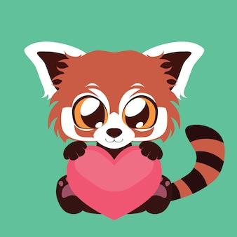 Lindo panda rojo sosteniendo un corazón