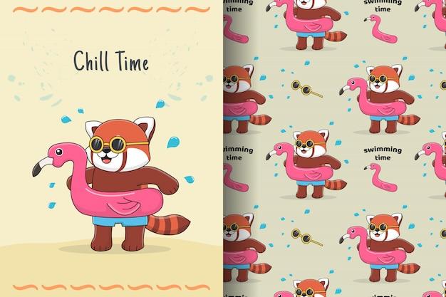 Lindo panda rojo con tarjeta y patrones sin fisuras de goma flamingo