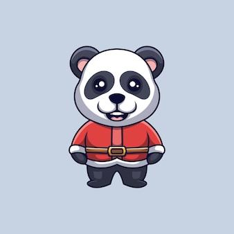 Lindo panda santa logotipo de mascota de dibujos animados de navidad creativa