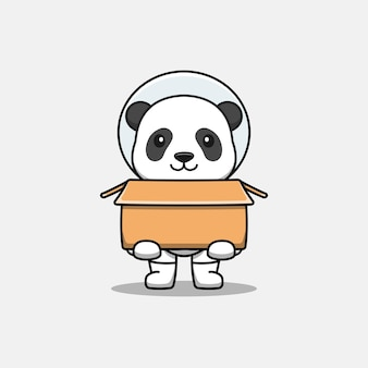 Lindo panda con traje de astronauta llevando cartón