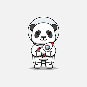 Lindo panda con traje de astronauta llevando un cohete