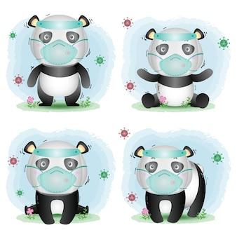 Lindo panda usando protector facial y colección de máscaras