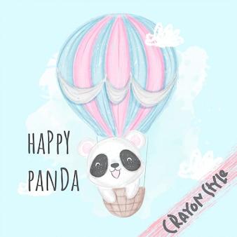 Lindo panda volando con ilustración de animales en globo para niños estilo crayón