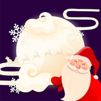 Lindo papá noel con trineo de renos y copo de nieve en luna llena púrpura. tarjeta de felicitación .