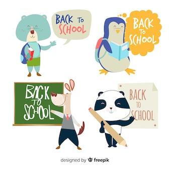 Lindo paquete de animales de regreso a la escuela kawaii