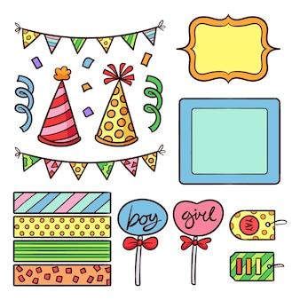 Lindo paquete de elementos de álbum de recortes de cumpleaños