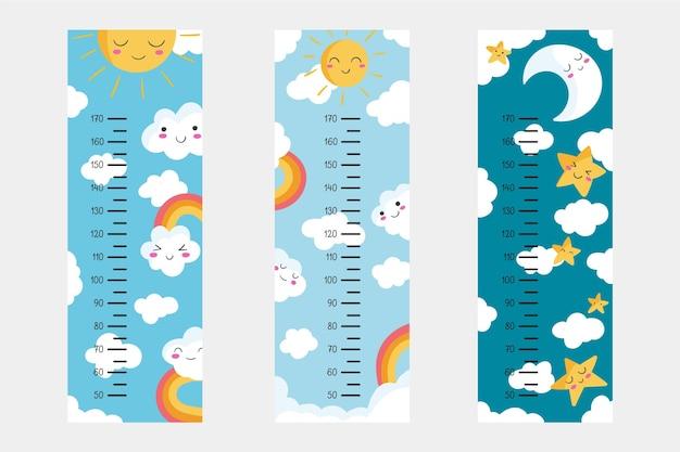 Lindo paquete de medidores de altura dibujado ilustrado
