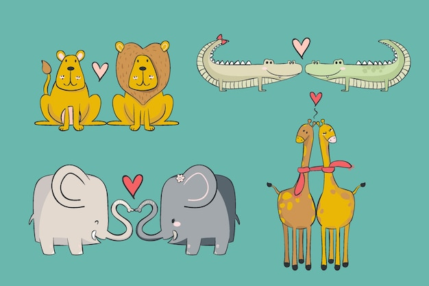 Lindo paquete de pareja de animales del día de san valentín