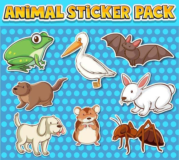 Lindo paquete de pegatinas de animales salvajes aislado