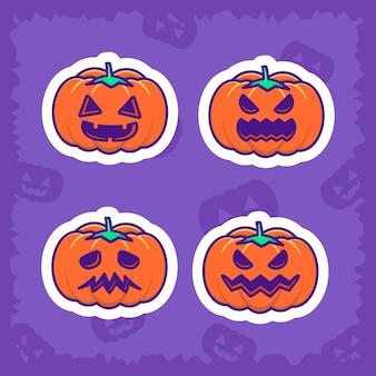 Lindo paquete de pegatinas de calabaza y feliz halloween