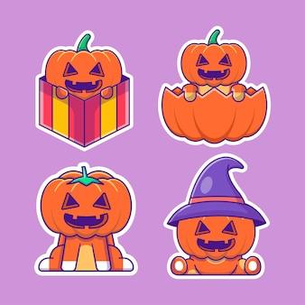 Lindo paquete de pegatinas de dibujos animados de calabaza feliz halloween