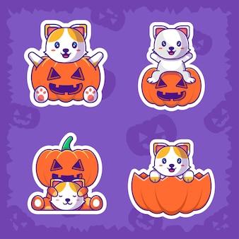Lindo paquete de pegatinas de feliz halloween de gato y calabaza
