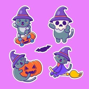 Lindo paquete de pegatinas de halloween feliz gato bruja y calabaza