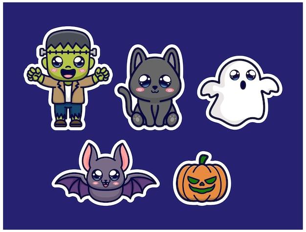 Lindo paquete de pegatinas de halloween Vector Premium