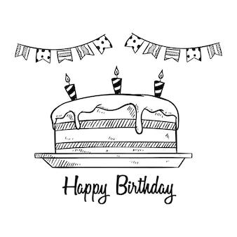 Lindo pastel de cumpleaños y decoración para fiesta con dibujo o estilo doodle