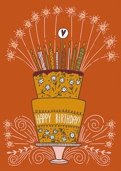 Lindo pastel de feliz cumpleaños con velas y fuegos artificiales