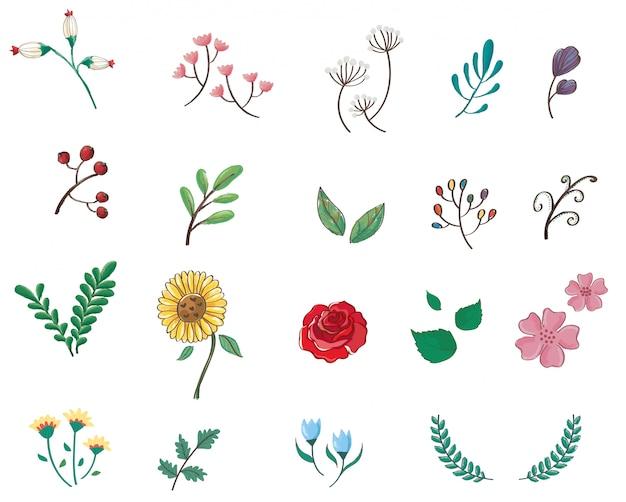 Lindo pastel flores icono de dibujos animados